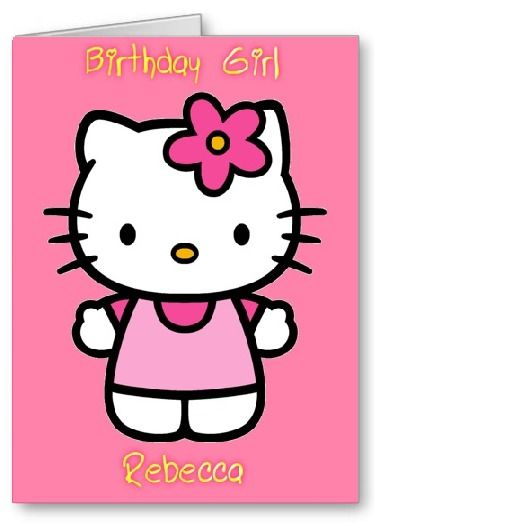 Personalised Childrens Birthday Cards Hello Kitty 200 Cards