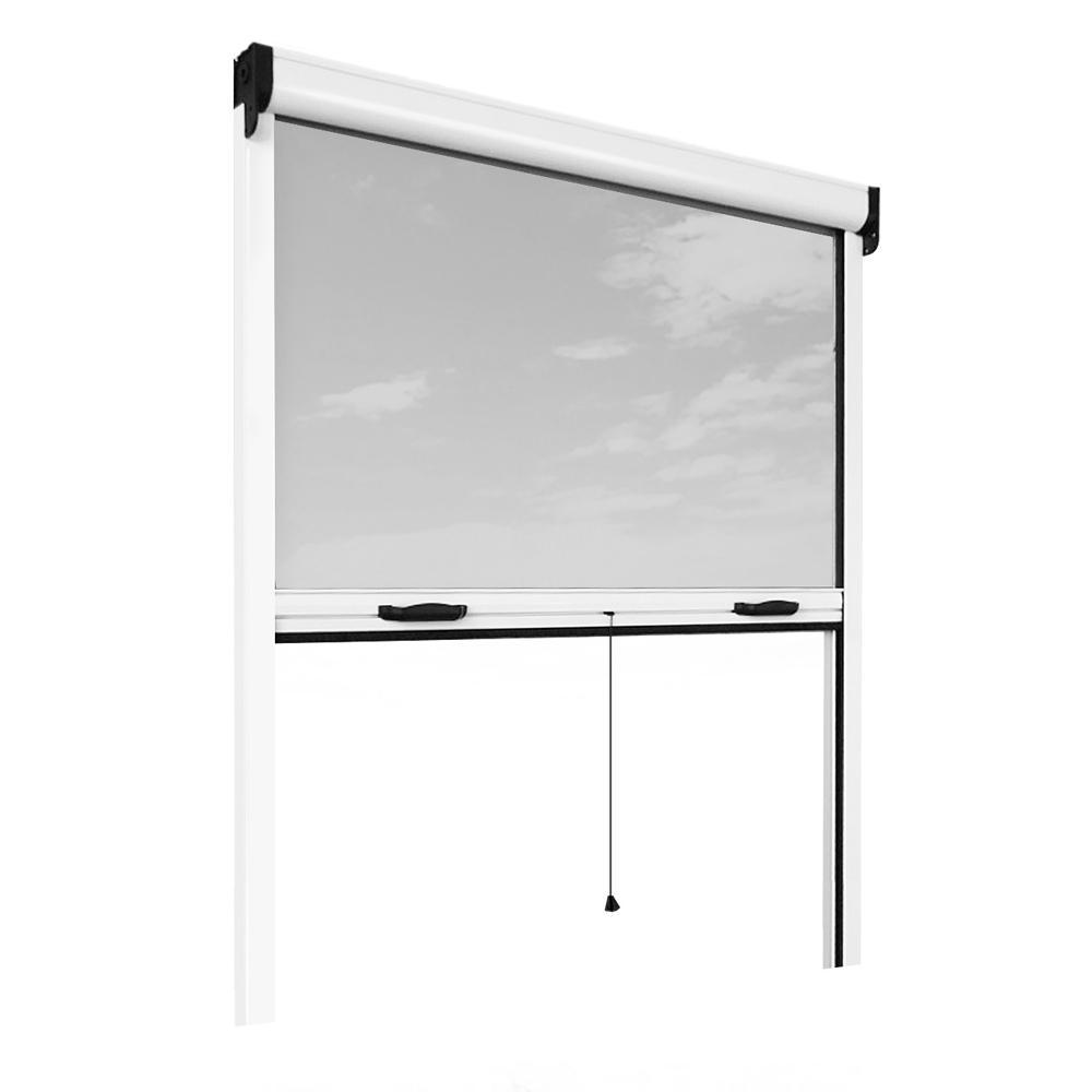 Retractable Bug Screen 73 In X 67 In Adjustable Width X2f Height White Aluminum Fiberglass Vertically Retra Insect Screen Window Bug Screen Insect Screening
