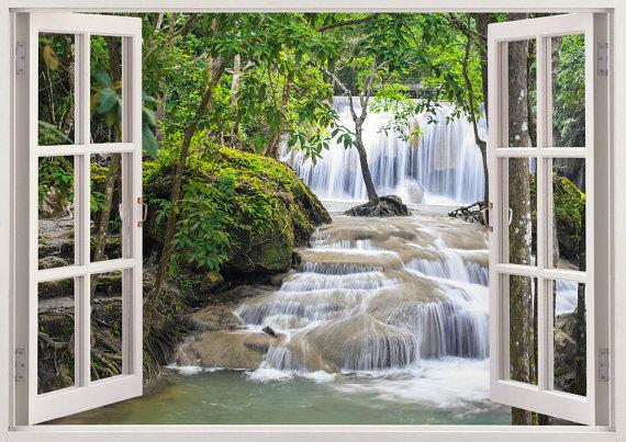 Waterfall wall art 3D window Waterfall by 3DWindowWallStickers - cascada de pared