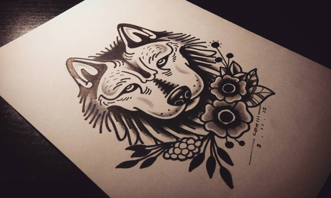 4d9adda0fa271 Oldskool wolf for a Columbian customer on his left chest. #tattoo  #tattooartist #sketch #oldschool #wolf #wolftattoo #oldschooltattoo #flower  #plants