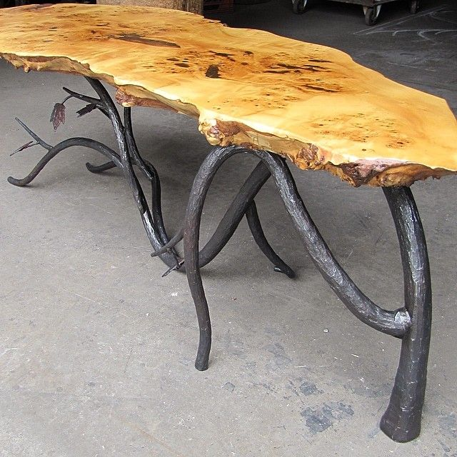 Coffeetable Furniture Design Liveedge Forged Iron