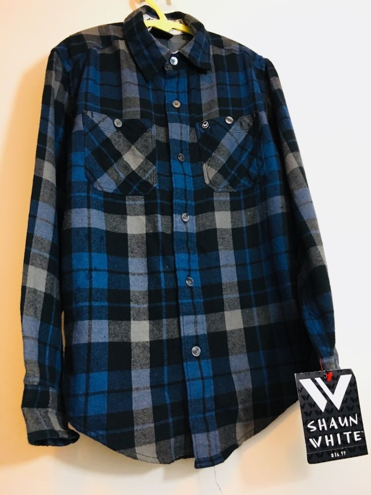 5ac2ddaaf NEW SHAUN WHITE FLANNEL COTTON BUTTON DOWN SHIRT Plaid Small 6 - 7 boy  #fashion #clothing #shoes #accessories #kidsclothingshoesaccs  #boysclothingsizes4up ...