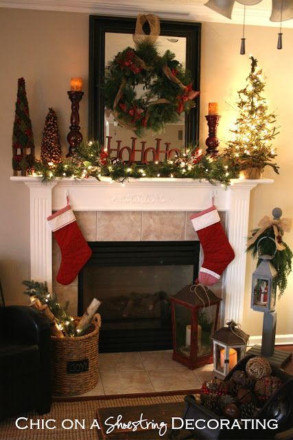 Rustic C\u2026 My House, Christmas Style by Chic on a Shoestring - christmas decorations for mantels