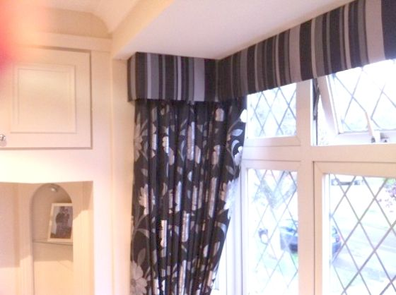 Striped Upholstered Pelmet In An L Shaped Bay Over Floral Curtains Floral Curtains Soft Furnishings House Interior