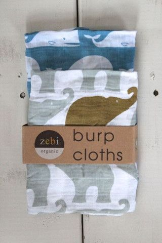 Organic Burp Cloths, Whale & Elephant