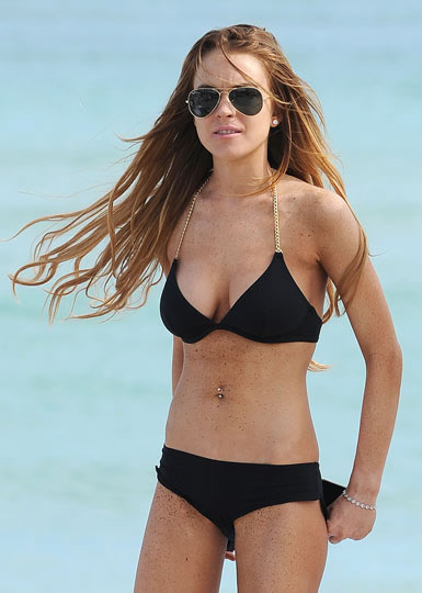 Lindsay Lohan wearing Huit Les Pleins bikini