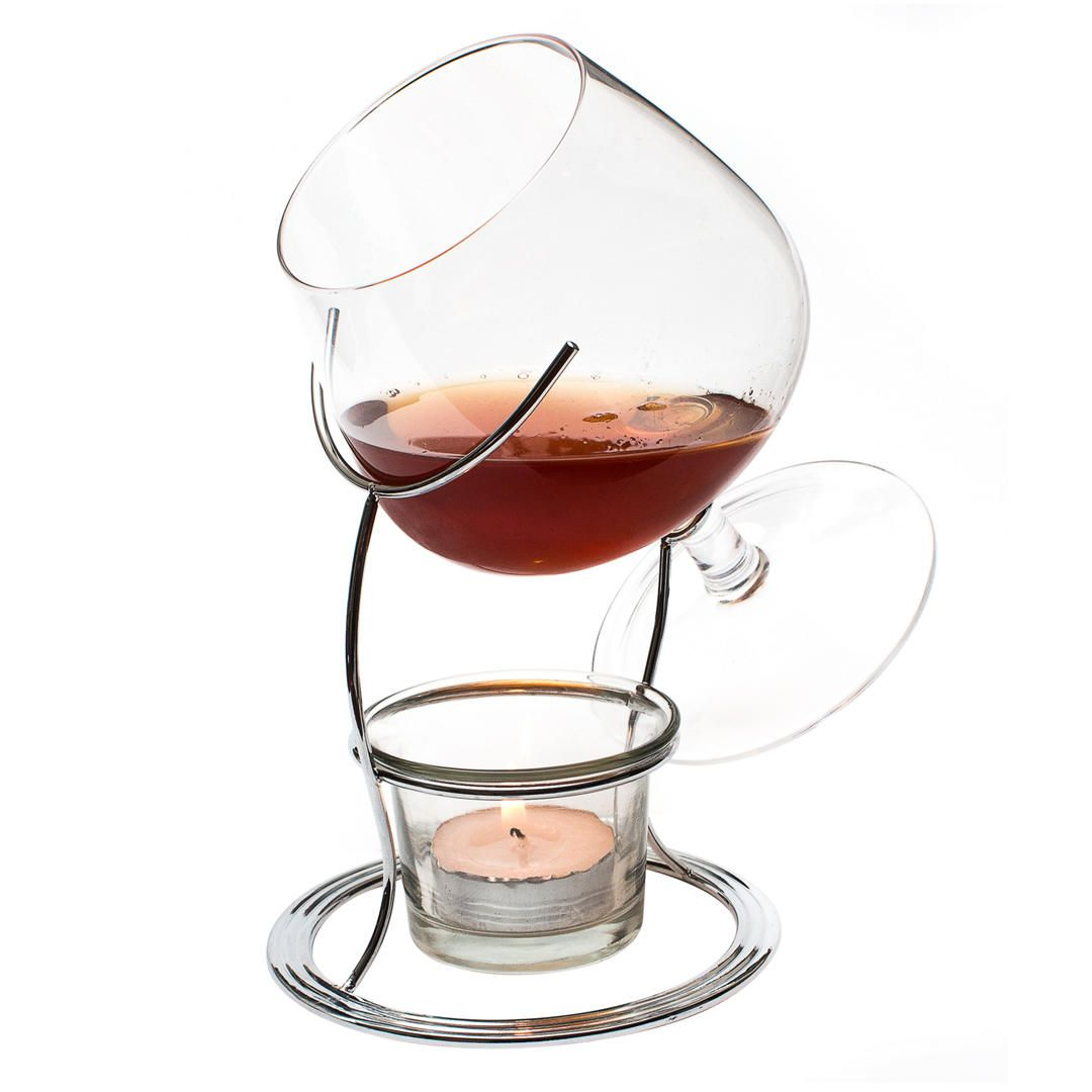 Final Touch Vinology Brandy Glass and Warmer Set (With