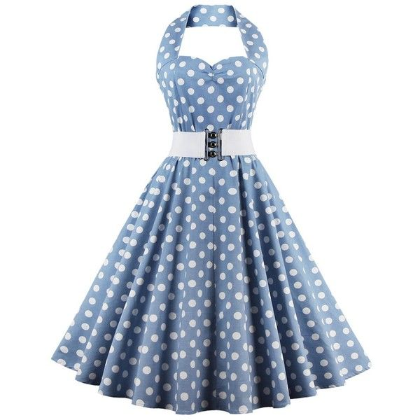 Retro Halter Sweetheart Neck Polka Dot Flare Dress (€17) ❤ liked on Polyvore featuring dresses, blue polka dot dress, retro dresses, halter-neck dress, sweetheart neckline dress and halter top