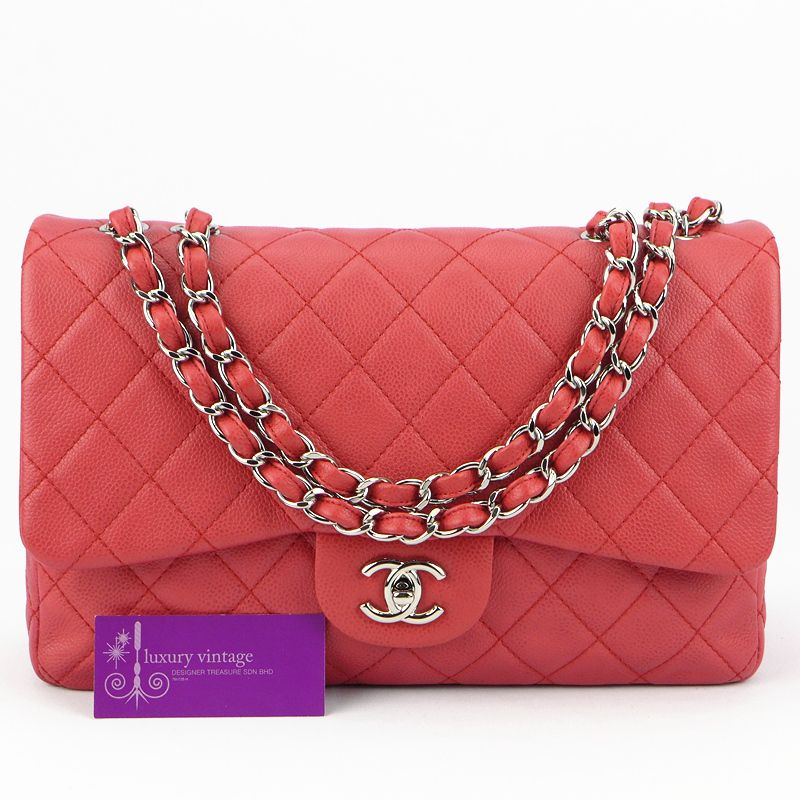 Chanel Jumbo Dark Pink Single Flap Soft Caviar With Silver Hardware Good Condition Ref Code Kkre 3 Chanel Collection Chanel Jumbo Chanel
