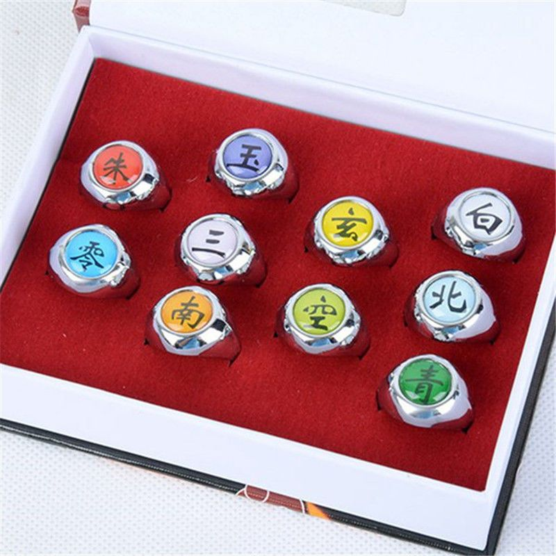 Retail Shack 10 Pieces Naruto Shippuden Akatsuki Members Cosplay Ring Set
