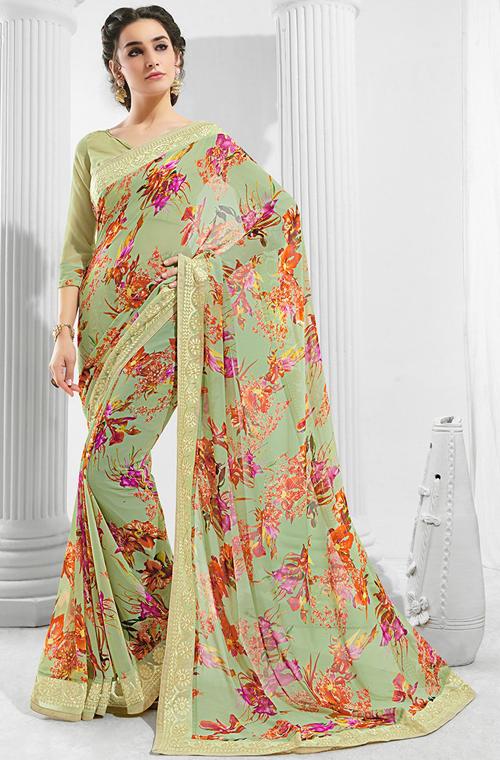 15c0de03b8649 Light Olive Green Designer Floral Print Georgette Saree in 2019 ...