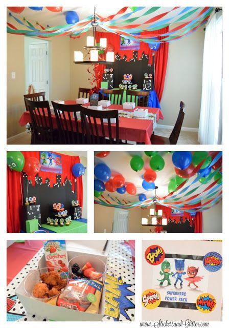 Pj Mask Party Decorations Stickers & Glitter Pj Masks Birthday Party Ideas #disneyside