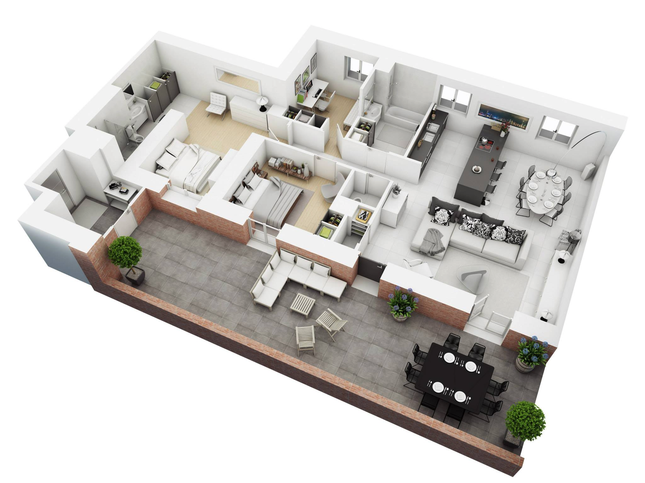 25 more 3 bedroom 3d floor plans | 3d, architects and building