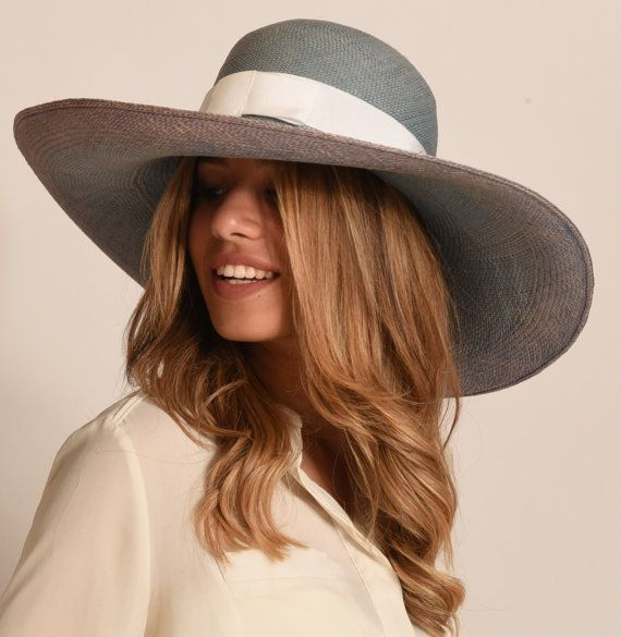 Panama hat   wide brim summer Hat for Women   ladies straw hat hat for large  head U.K.  blue Summer 92eaaf3b88e