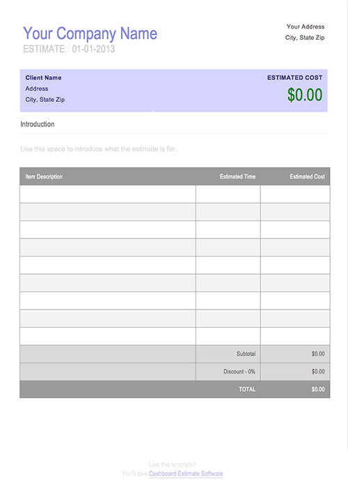 Free Job Estimate Template For Microsoft Word  Cashboard App