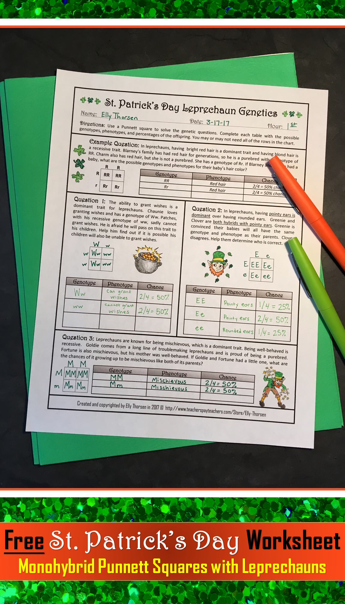 St Patrick S Day Monohybrid Crosses Punnett Square Worksheet Freebie