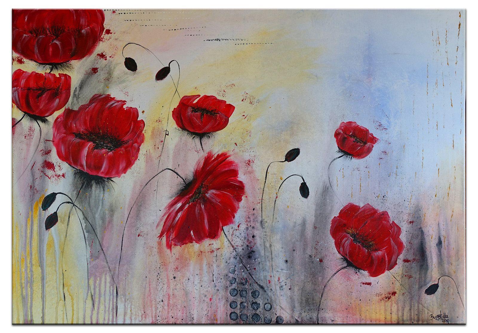 Mohnblumen Malerei Gemalde Blumenbild Original Unikat Blumen Wandbild Acrylbild Kunstbild 70x100 Poppy Painting Flower Painting Original Flower Painting
