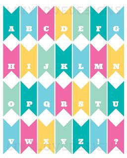 Free Printable Pennant Banner Bunting Download  Full Alphabet In