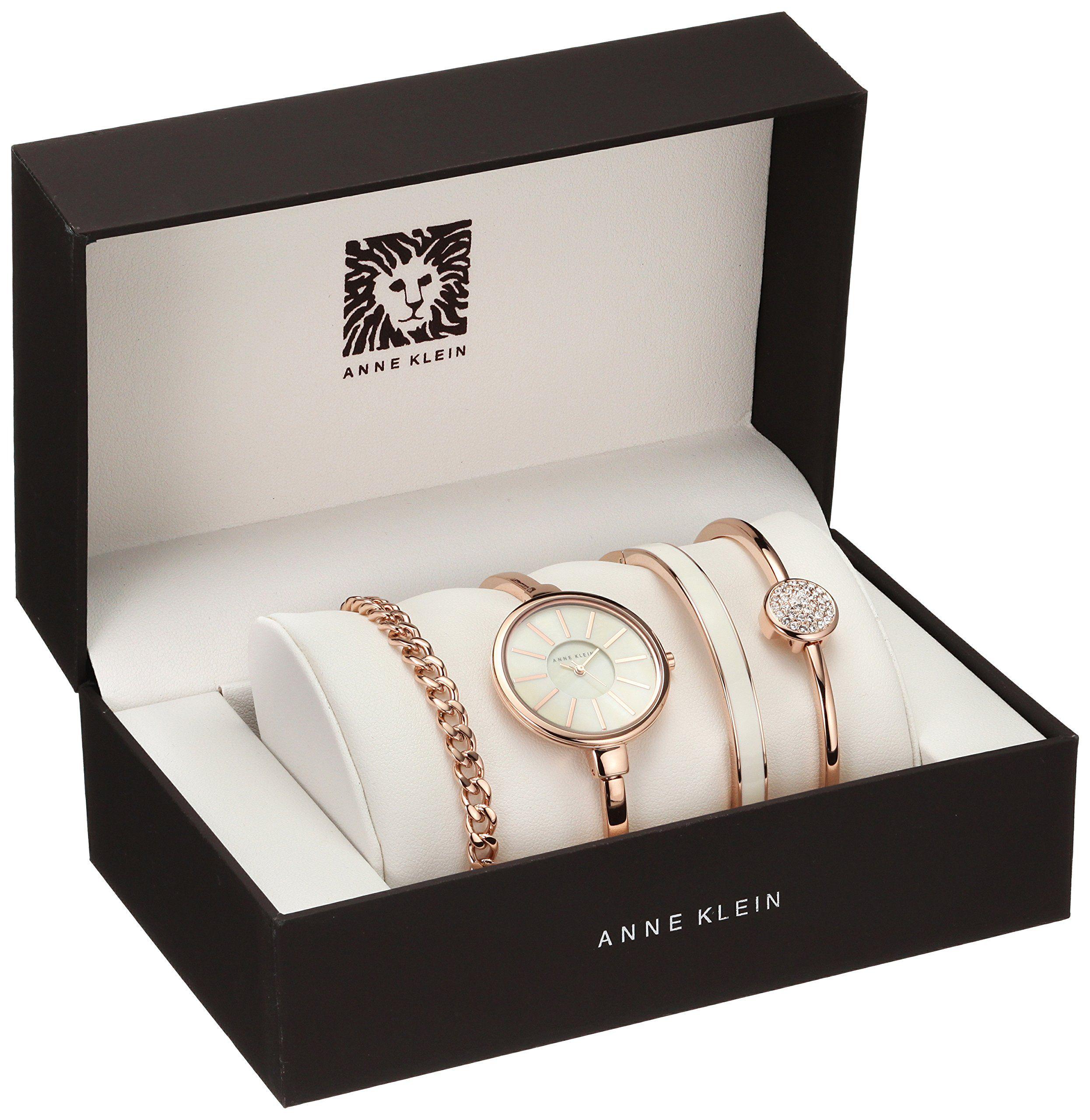 407bd86455e Anne Klein Women s AK 1470RGST Rose Gold-Tone Bangle Watch and Bracelet Set