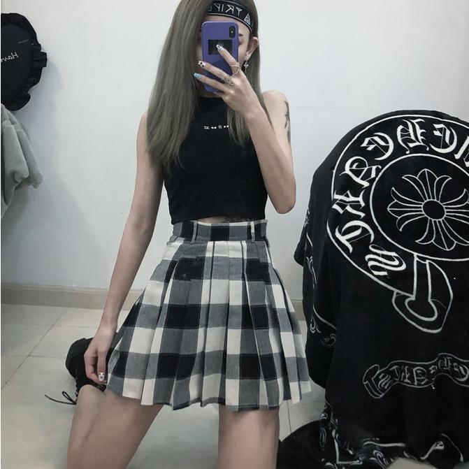 55dbb528e6 Ulzzang plaid skirt KF90277 | Skirt and dress | Plaid skirts, Skirts ...