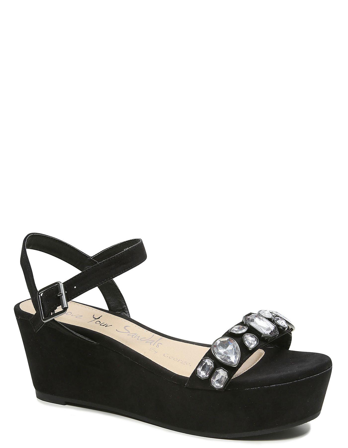 Gem Adorned Platform Sandals | Women | George at ASDA