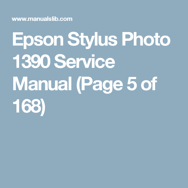 Epson Stylus Photo 1390 Service Manual Page 5 Of 168 Powershot Canon Powershot User Manual