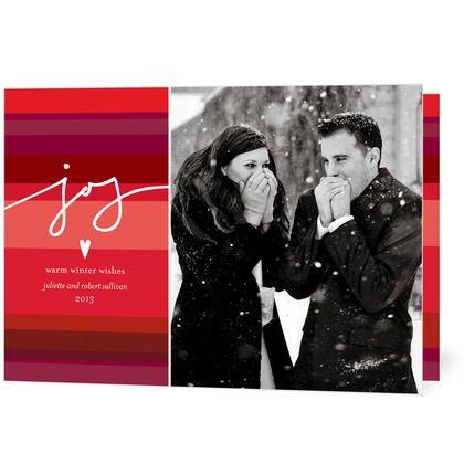 Joyful Joys - Folded Holiday Photo Cards in a beautiful Ruby Red