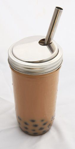 Stainless Steel Wide Mouth Canning Jar Bubble Tea Milkshake Lid With Straw Bubble Tea Wide Mouth Canning Jars Bubbles