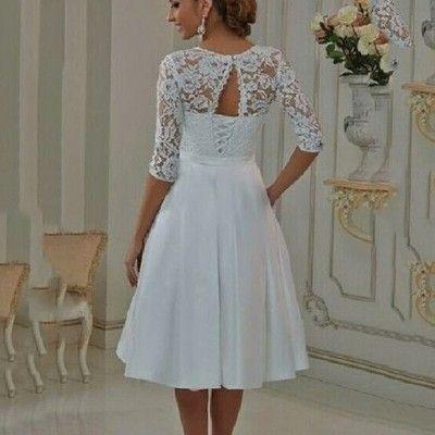 Suknia Sukienka Slubna Krotka Cywilny Na Juz 6814075661 Oficjalne Archiwum Allegro Short Wedding Dress Vintage Wedding Dresses Knee Length Wedding Dress