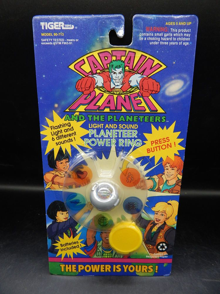 1994 vintage CAPTAIN PLANET Power Ring silver Planeteer Tiger Toys MOC elements #TigerToys