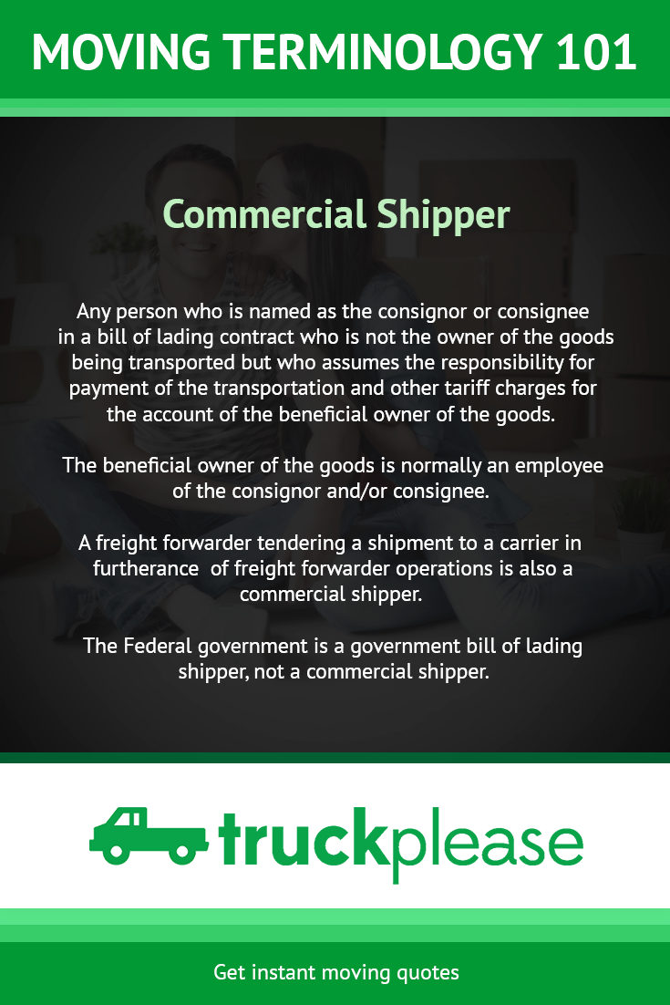 Moving Company Quotes Commercial Shipperany Person Who Is Named As The Consignor Or