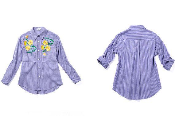 Floral bordado camisa a rayas camisa de flores camisa por Chicatory