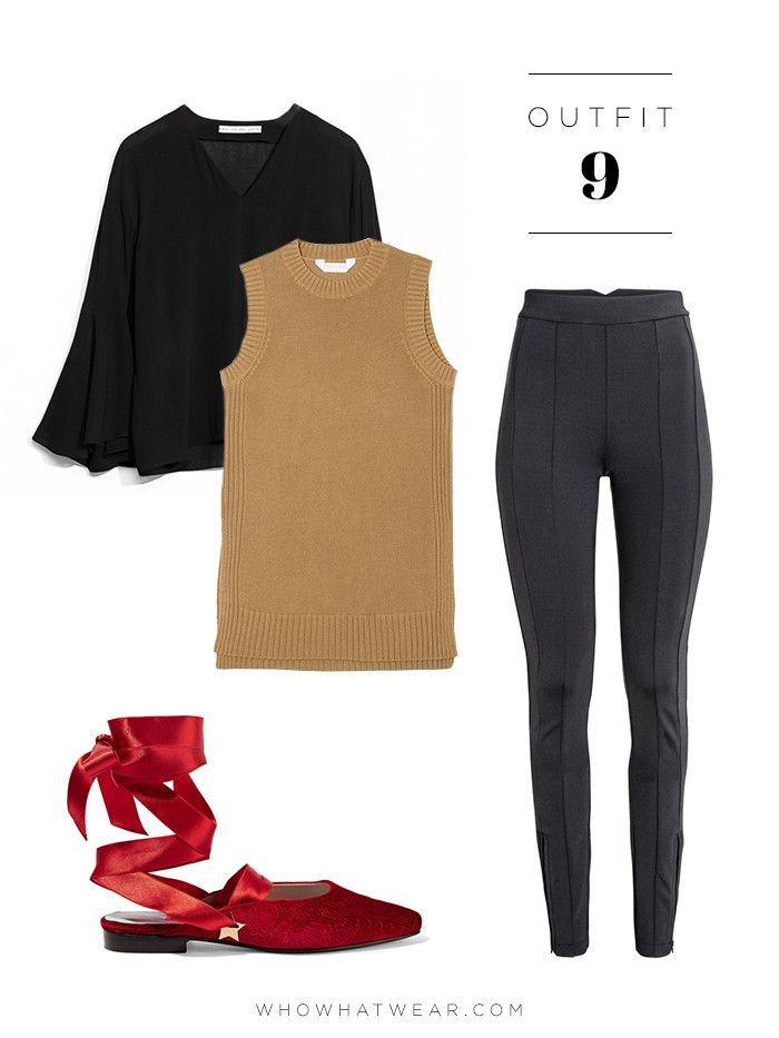 Bell-Sleeve Top + Sleeveless Tunic Sweater + Treggings + Ballet Flats & Other Stories Flared Sleeve Blouse ($85); Everlane The Open Knit Tank ($65); H&M Treggings ($40)