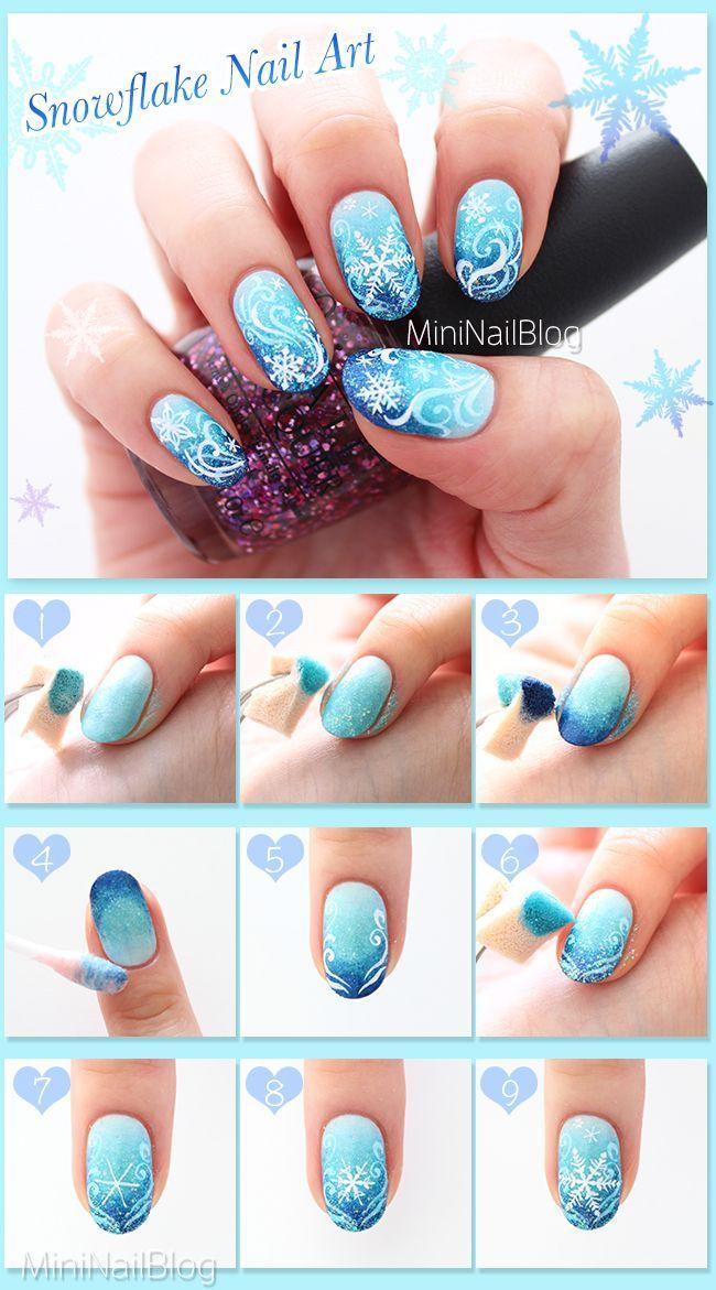 Snowflake Nail Art Design Tutorial! Please visit my blog for the details :D  https - Snowflake Nail Art Design Tutorial! Please Visit My Blog For The