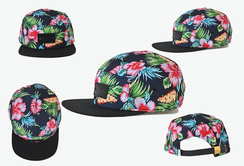 Men s   Women s Vans 5 Panel Hawaiian Faux Leather Vans Logo Patch Leather  Strapback Hat - Black f3d088e8c43