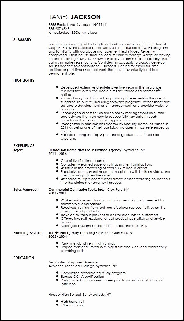 It Support Technician Resume Beautiful Free Entry Level Technical Support Specialist Resume