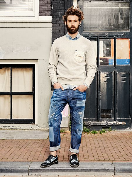 patchwork denim for cool + casual street style // menswear Spring + Summer style