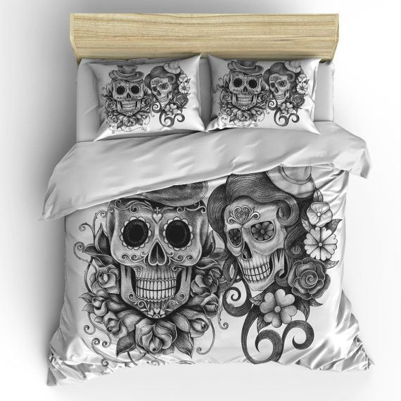 Skull Bedding Sugar Skull Duvet Cover Set Skull Bedding Pillow