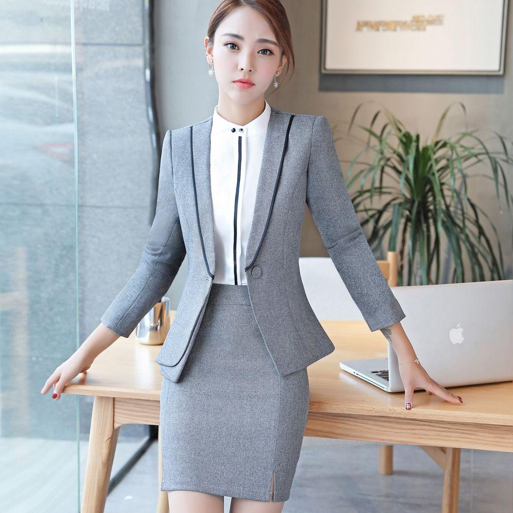 Intelligent Dark Blue Women Business Suits Work Wear Autumn Slim Two-piece Female Office Uniform Formal Ladies Elegant Pant Suits Custom With The Best Service Pant Suits