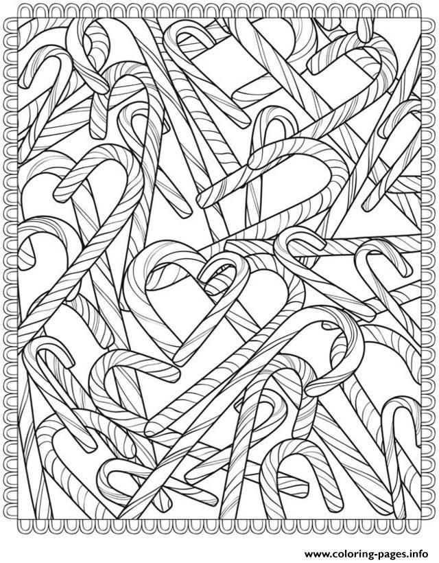 Print Candy Canes Christmas Adult Coloring Pages  Christmas