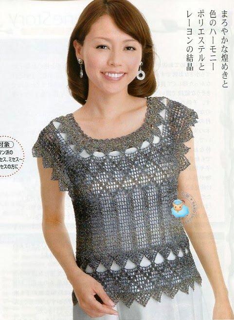 Maravilhas do Crochê: Blusinhas de Verão_Modelo Japonês | Блуза, топ ...