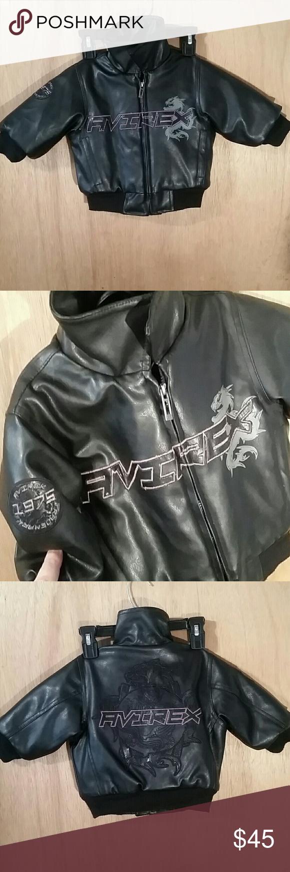 9417b706a7ff Avirex boy s toddler black polyvinyl jacket 12M