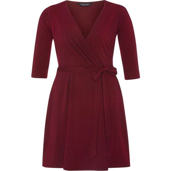 Dorothy Perkins **DP Curve Wine Wrap Dress (€19) ❤ liked on Polyvore featuring dresses, wine, wine red dress, long sleeve jersey dress, red dress, red cotton dress and cotton wrap dress