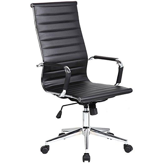 Black  Modern High Back Tall Ribbed PU Leather With Wheels Arms Arm Rest  W/Tilt Adjustable Seat Designer Boss Executive Office Chair Work Task  Computer ...