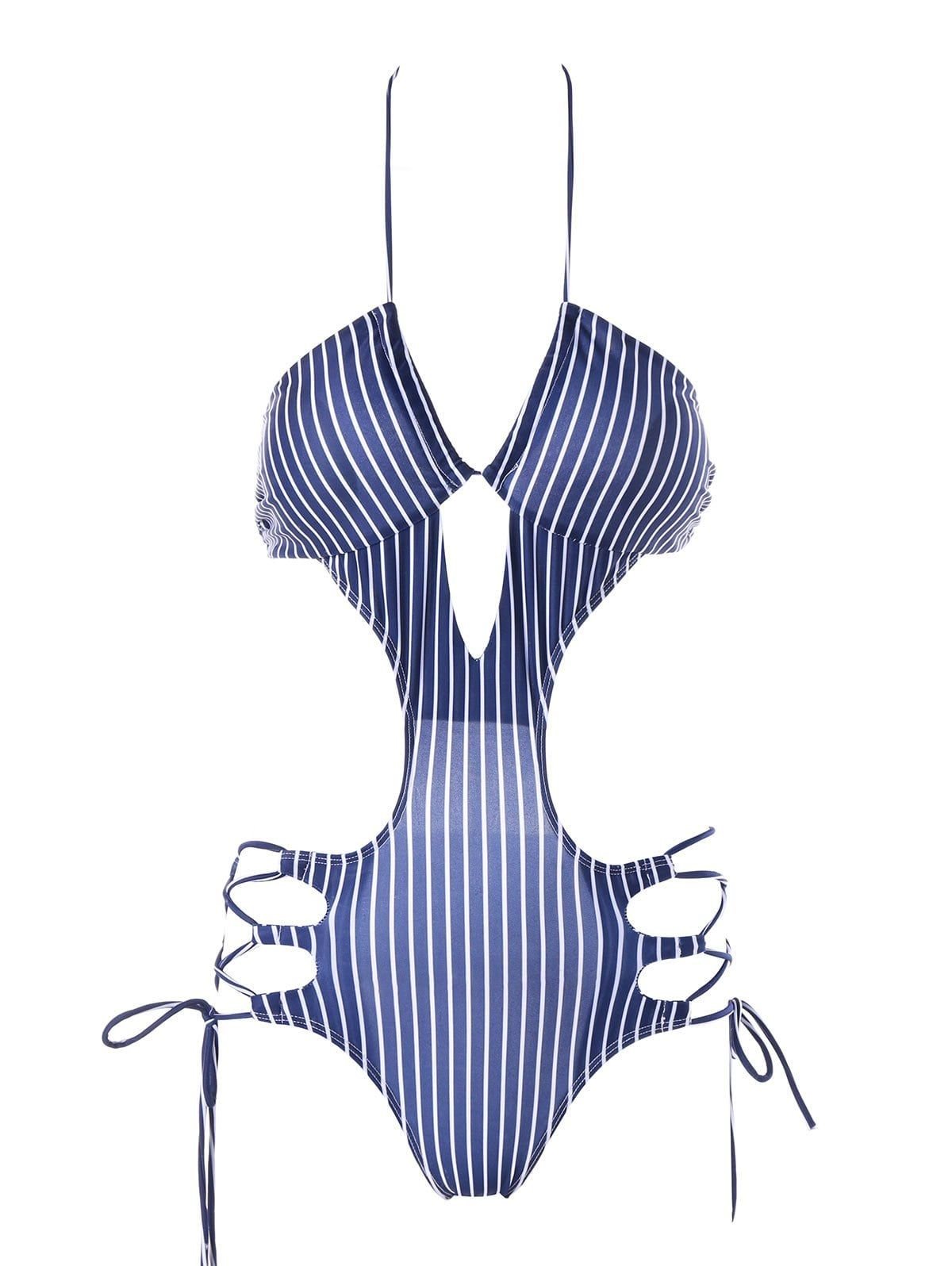 4db427e98a711 Lace Up Striped One Piece Swimwear | Summer Wear in 2019 | Striped ...