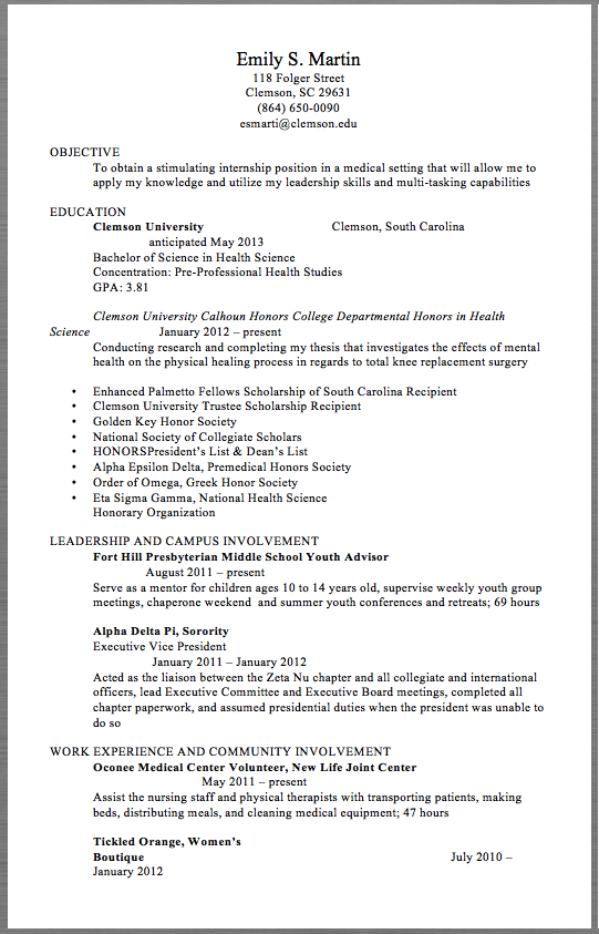 Medical Volunteer Resume Example Emily S Martin  Folger Street