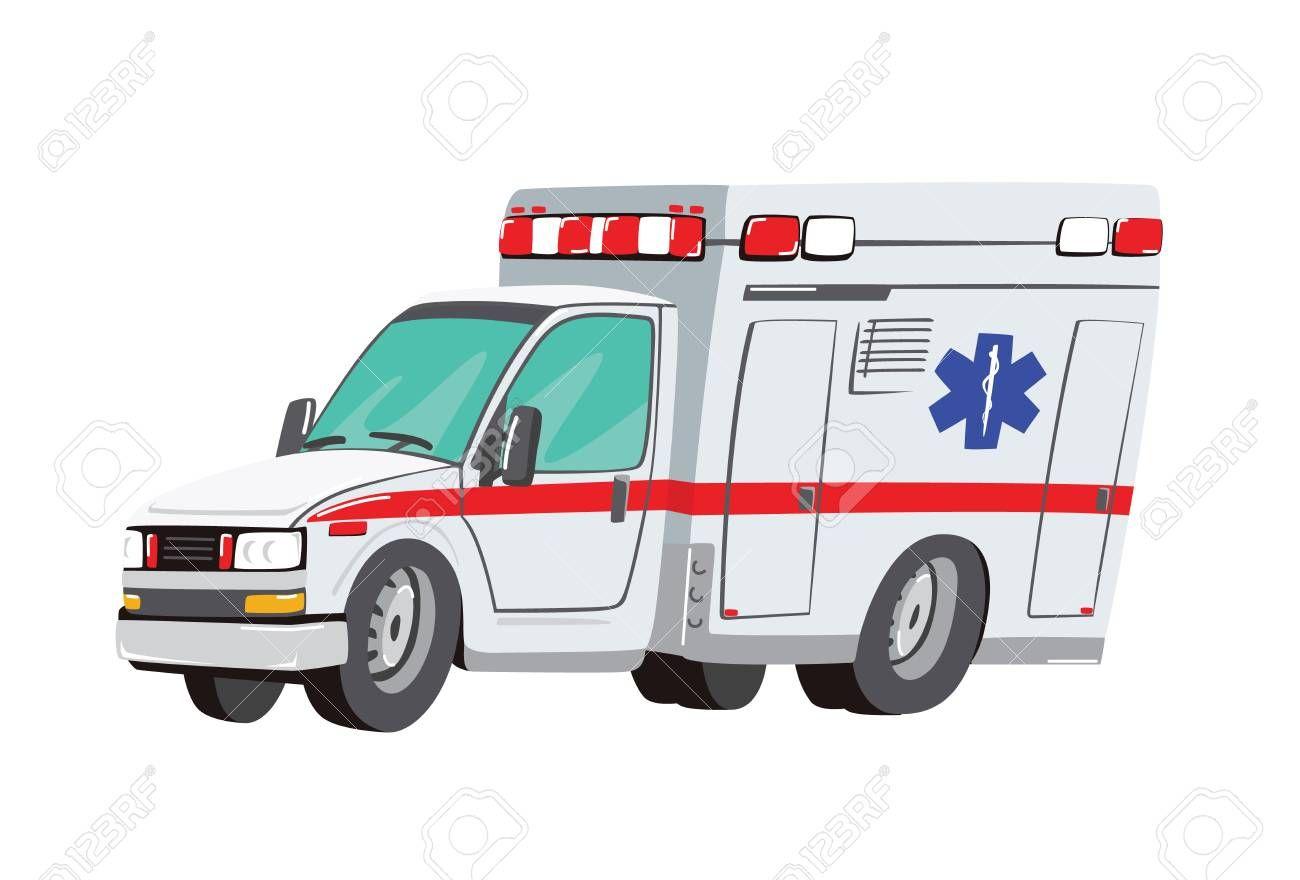 Vector Illustration Ambulance Car On White Background