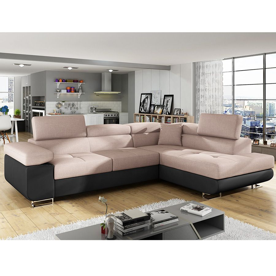 Canapé d angle marron en tissu MOKA Canapés d angle
