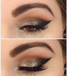 augen-make-up-braune-augen-gold-glitzer-lidstrich #glittereyeliner