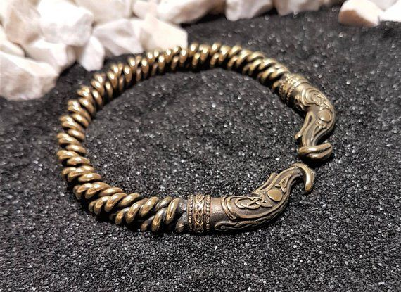 93c7b0b76 Ragnar Bracelet Braided Bronze Norse Jewelry Bangle Viking arm ring Charm  Twisted Torc Vikings Brace